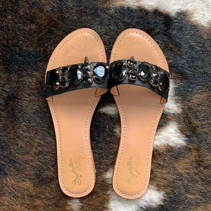 Seychelles black jeweled sandals